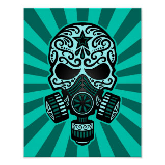 Teal Blue Post Apocalyptic Sugar Skull Poster
