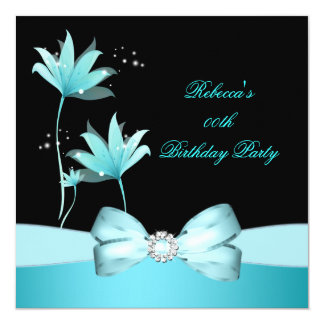 "Teal Blue Pretty Flower Birthday Party 5.25"" Square Invitation Card"