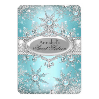 Teal Blue Princess Winter Wonderland Sweet 16 13 Cm X 18 Cm Invitation Card