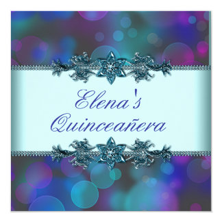 Teal Blue Purple Bubbles Quinceanera 13 Cm X 13 Cm Square Invitation Card