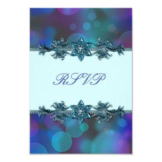 Teal Blue Purple Bubbles Quinceanera RSVP 9 Cm X 13 Cm Invitation Card