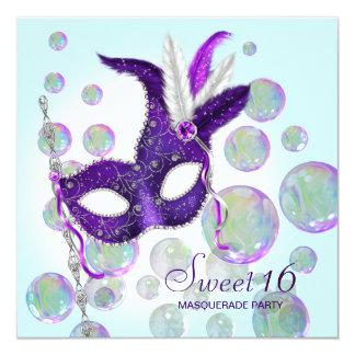 Teal Blue Purple Bubbles Sweet Sixteen Masquerade 13 Cm X 13 Cm Square Invitation Card