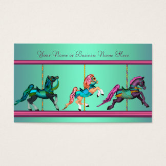 Teal Blue Purple Carousel Painted Horses Business Card