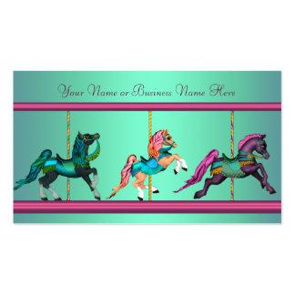 Teal Blue Purple Carousel Painted Horses Pack Of Standard Business Cards