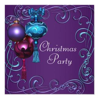 "Teal Blue Purple Christmas Party Invitations 5.25"" Square Invitation Card"
