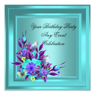 Teal Blue Purple Floral Elegant Party 13 Cm X 13 Cm Square Invitation Card