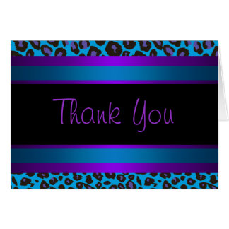 Teal Blue Purple Leopard Thank You Cards