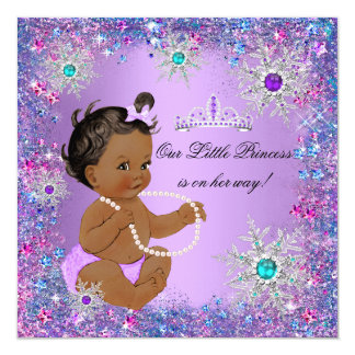 Teal Blue Purple Pink Princess Baby Shower Ethnic 13 Cm X 13 Cm Square Invitation Card