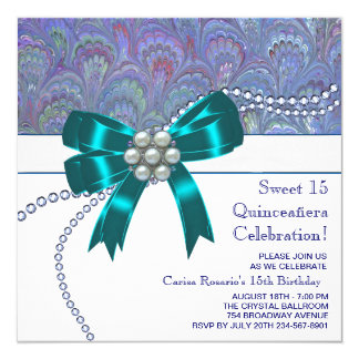 Teal Blue Purple Quinceanera Card