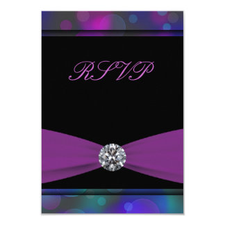 Teal Blue Purple Quinceanera RSVP Card