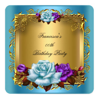Teal Blue Purple Roses Gold Birthday Party 13 Cm X 13 Cm Square Invitation Card