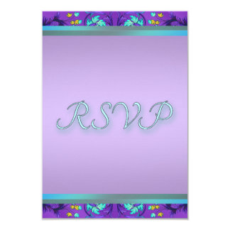 Teal Blue Purple RSVP Template 9 Cm X 13 Cm Invitation Card