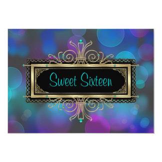 Teal Blue Purple Sweet Sixteen Birthday Party 13 Cm X 18 Cm Invitation Card