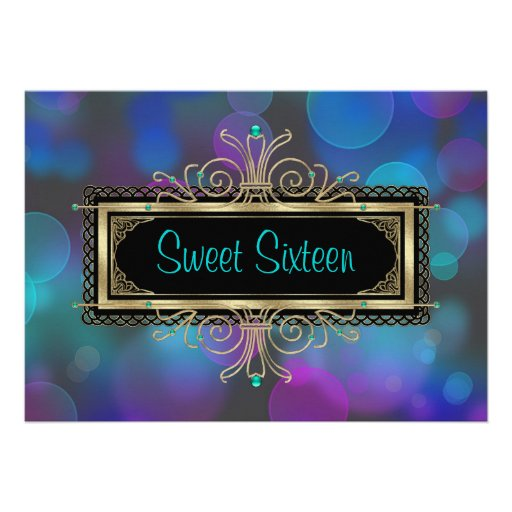 Teal Blue Purple Sweet Sixteen Birthday Party Custom Announcement