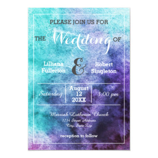 Teal Blue Purple Watercolor - Wedding Invitation