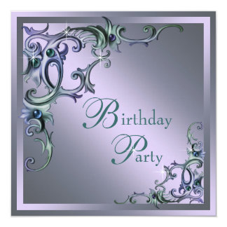 Teal Blue Purple Womans Any Number Birthday Party Card