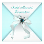 Teal Blue Quinceanera Party Invitations