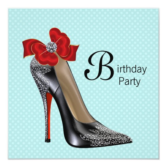 Teal Blue Red Black High Heel Shoe Birthday Party Card
