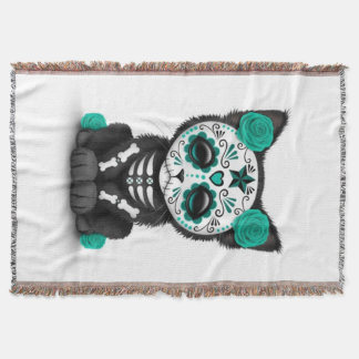 Teal Blue Red Day of the Dead Kitten Cat, White Throw Blanket