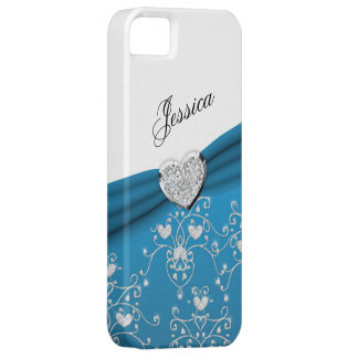 Teal Blue Ribbon Heart Damask iPhone 5 Case
