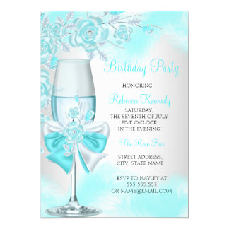 Teal Blue Rose Champagne White Floral Party 13 Cm X 18 Cm Invitation Card