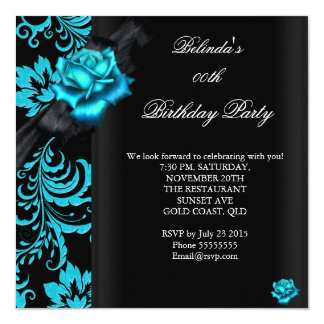 "Teal Blue Rose Damask Black Birthday Party 5.25"" Square Invitation Card"