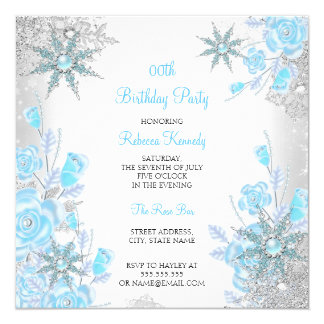 Teal Blue Rose Winter Wonderland Snowflakes Party 13 Cm X 13 Cm Square Invitation Card