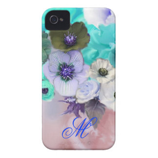 TEAL BLUE ROSES AND WHITE ANEMONE FLOWERS MONOGRAM iPhone 4 Case-Mate CASE