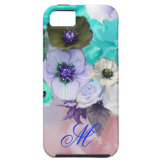TEAL BLUE ROSES AND WHITE ANEMONE FLOWERS MONOGRAM iPhone 5 COVERS