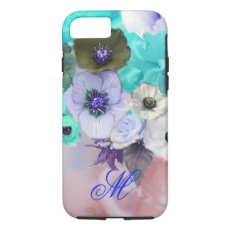 TEAL BLUE ROSES AND WHITE ANEMONE FLOWERS MONOGRAM iPhone 7 CASE