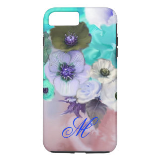 TEAL BLUE ROSES AND WHITE ANEMONE FLOWERS MONOGRAM iPhone 7 PLUS CASE