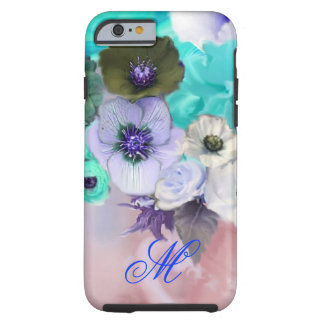 TEAL BLUE ROSES AND WHITE ANEMONE FLOWERS MONOGRAM TOUGH iPhone 6 CASE