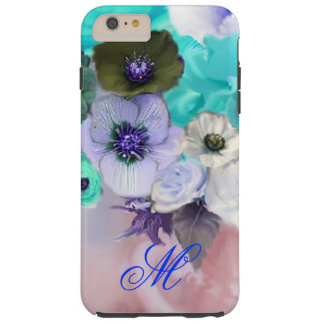 TEAL BLUE ROSES AND WHITE ANEMONE FLOWERS MONOGRAM TOUGH iPhone 6 PLUS CASE
