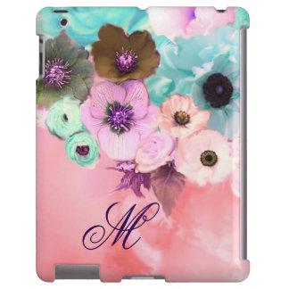 TEAL BLUE ROSES, PINK ANEMONE FLOWERS MONOGRAM iPad CASE