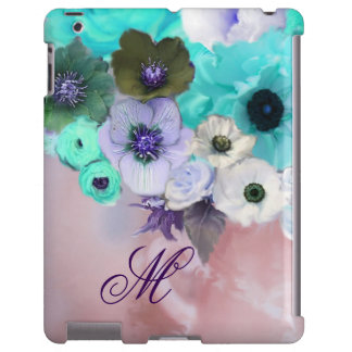 TEAL BLUE ROSES,WHITE ANEMONE FLOWERS MONOGRAM iPad CASE