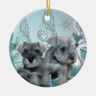 Teal Blue Schnauzer Puppies Christmas Ornament