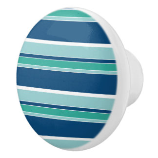 Teal Blue Seafoam Green White Stripes Pattern Ceramic Knob