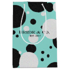 Teal Blue Shimmer Polka Dot Wedding Party Bag