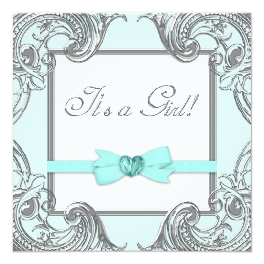 Teal Blue Silver Baby Shower Invitations