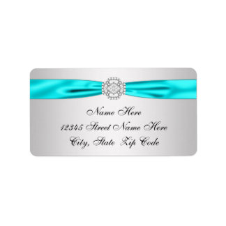 Teal Blue Silver Diamond Return Address Label