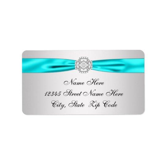 Teal Blue Silver Diamond Return Address Label