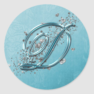 Teal Blue Silver Glitter Script Text Monogram D Round Sticker