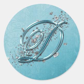 Teal Blue Silver Glitter Script Text Monogram D Round Sticker