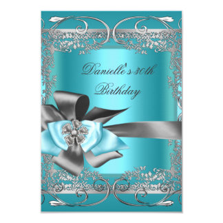 Teal Blue Silver Gray Birthday Party 30th Card