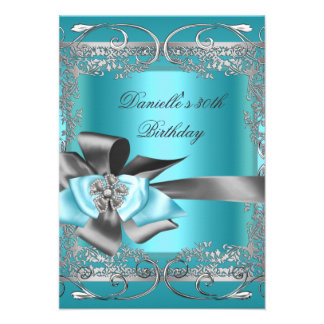 Teal Blue Silver Gray Birthday Party 30th Invite