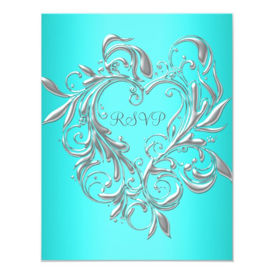 Teal Blue Silver Heart RSVP Response Card