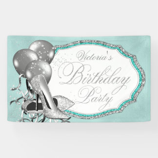 Teal Blue Silver High Heel Shoe Birthday Party