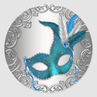 Teal Blue Silver Mask Masquerade Envelope Seal Fav Round Sticker