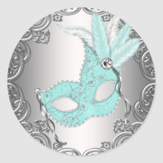 Teal Blue Silver Mask Masquerade Envelope Seal Fav Round Sticker
