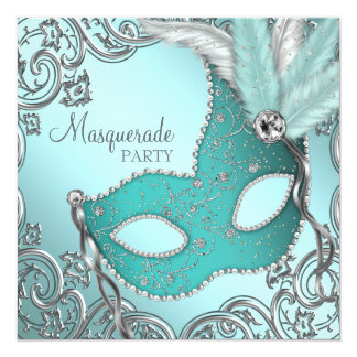 Teal Blue Silver Mask Masquerade Party 13 Cm X 13 Cm Square Invitation Card